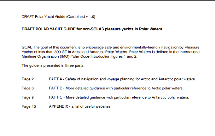 DRAFT POLAR YACHT GUIDE for non-SOLAS pleasure yachts in Polar Waters